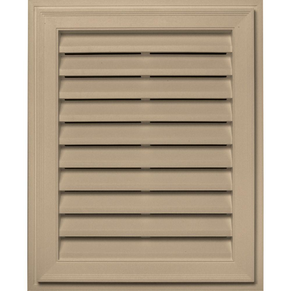 Builders Edge 20 in. x 30 in. Brickmould Gable Vent in Tan