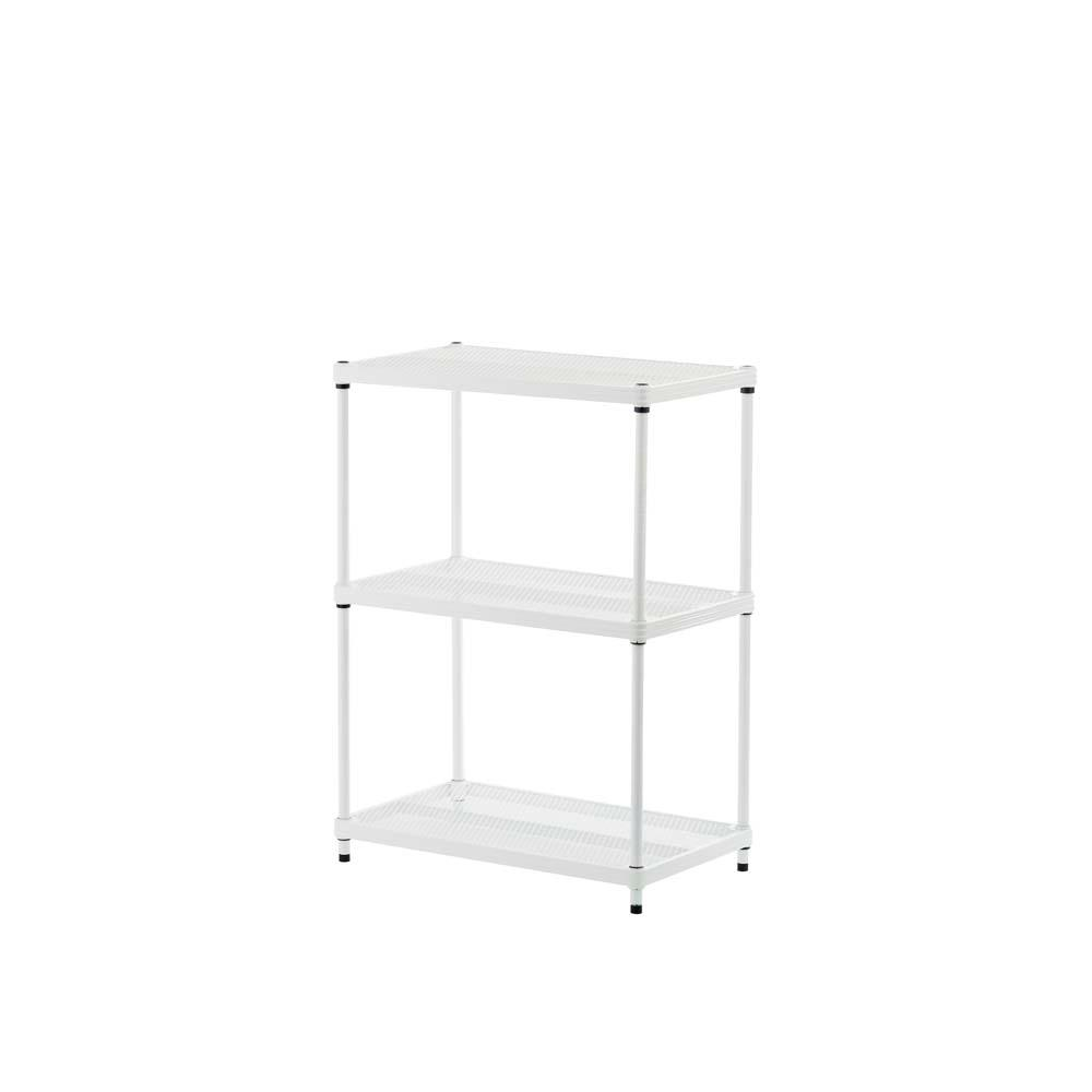 MeshWorks 3-Shelf Metal White Freestanding Shelving Unit
