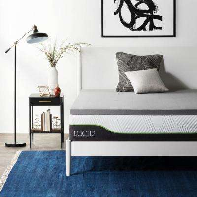 2 in. Twin XL Bamboo Charcoal Memory Foam Mattress Topper