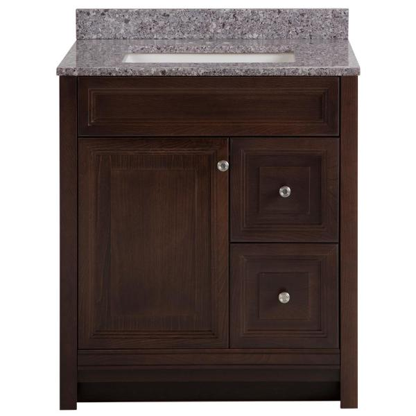 Brinkhill 31 in. W x 22 in. D Bath Vanity in Chocolate with Stone Effect Vanity Top in Mineral Gray with White Sink