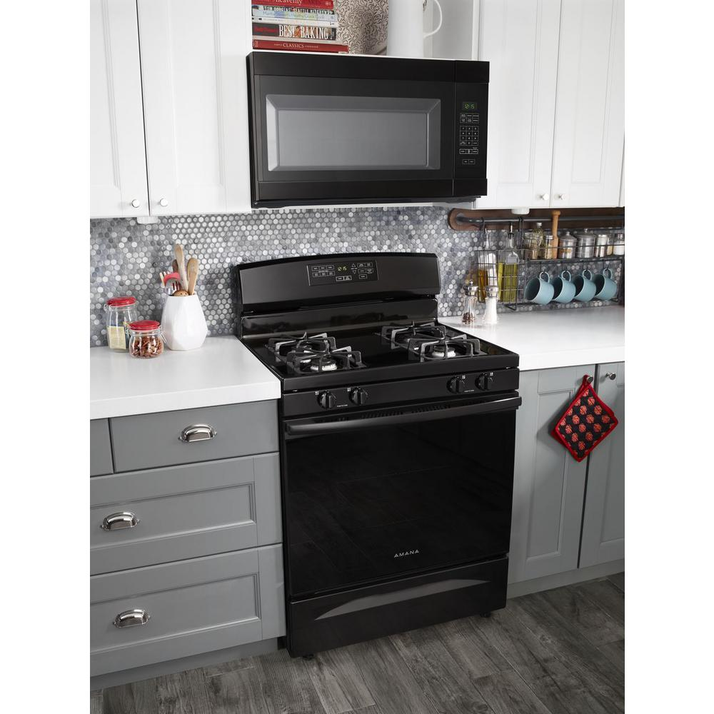 Amana 1 6 Cu Ft Over The Range Microwave In Black Amv2307pfb The Home Depot