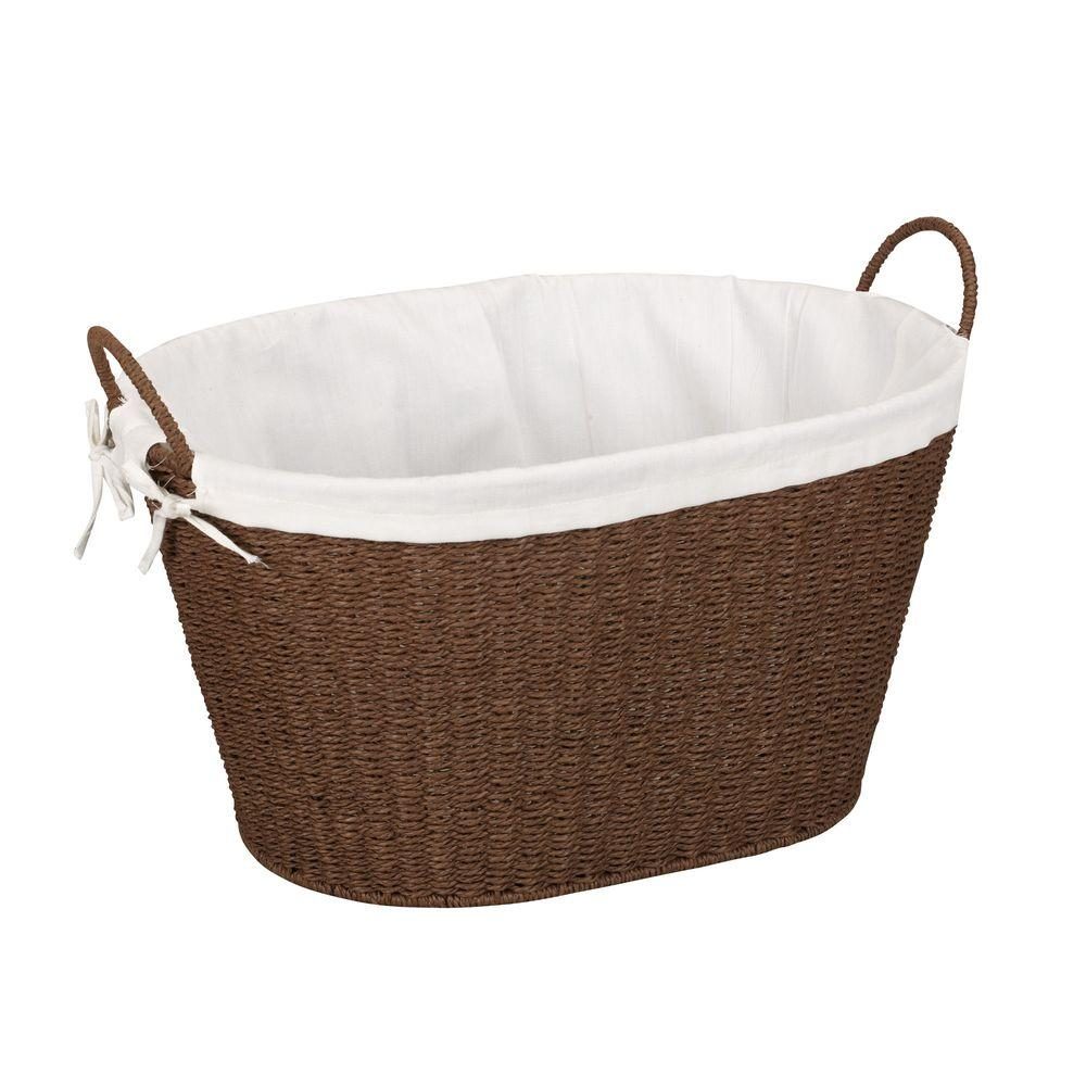 Household Essentials Paper Rope With Lining U0026 Handles Stained Laundry Basket