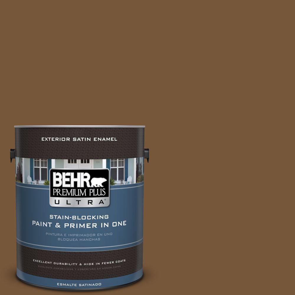 BEHR Premium Plus Ultra 1-gal. #290F-7 Wooden Cabin Satin Enamel Exterior Paint