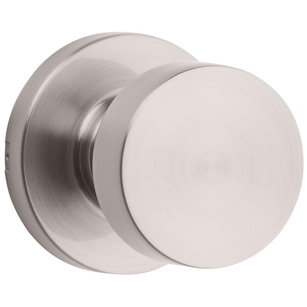 Pismo Round Satin Nickel Hall/Closet Door Knob Featuring Microban Antimicrobial Technology