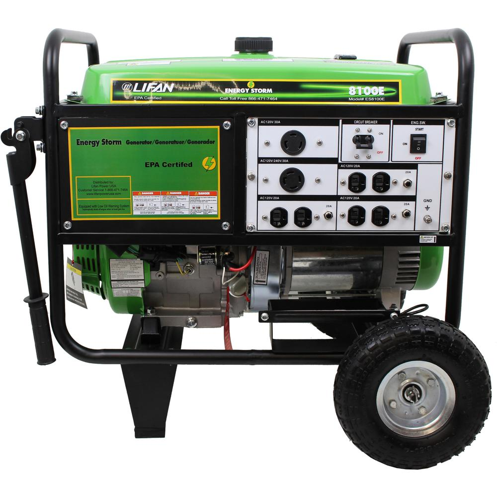 LIFAN Energy Storm 8,100/7,500-Watt Gasoline Powered Electric Start  Portable Generator