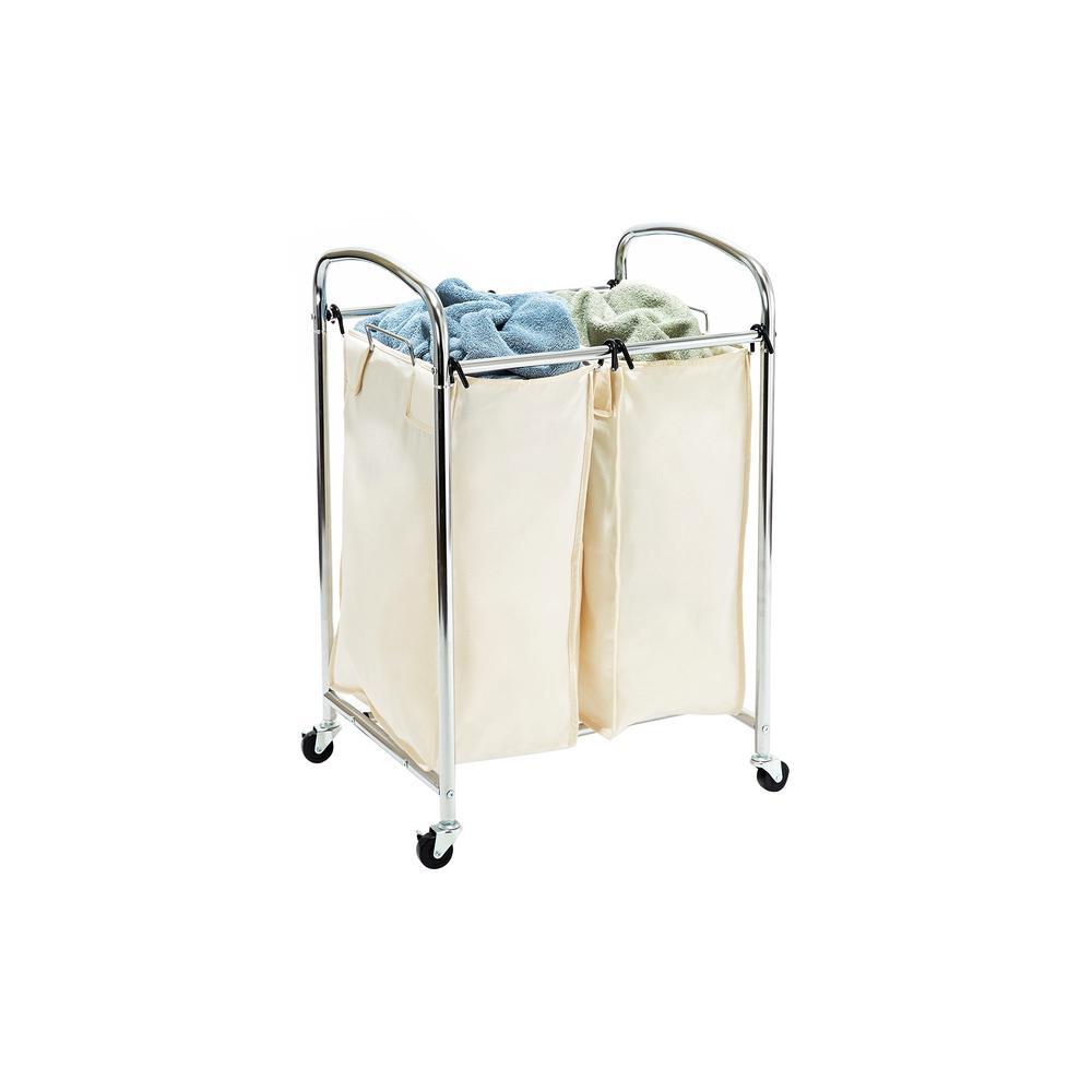 Mobile 2-Bag Heavy-Duty Laundry Hamper Sorter Cart