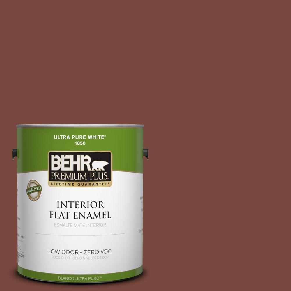 BEHR Premium Plus 1-gal. #200F-7 Wine Barrel Zero VOC Flat Enamel Interior Paint-DISCONTINUED