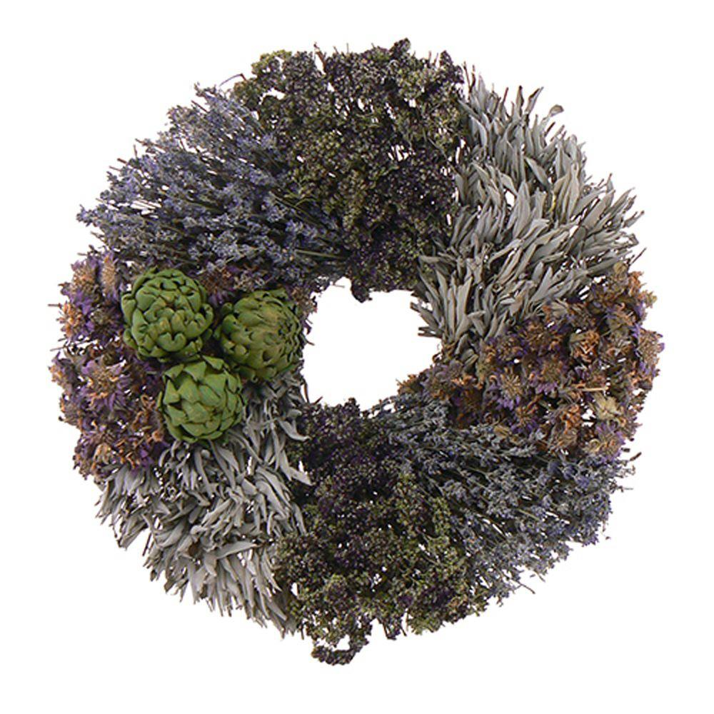 The Christmas Tree Company Purple and Artichoke 18 in. Dried Floral Wreath-DISCONTINUED