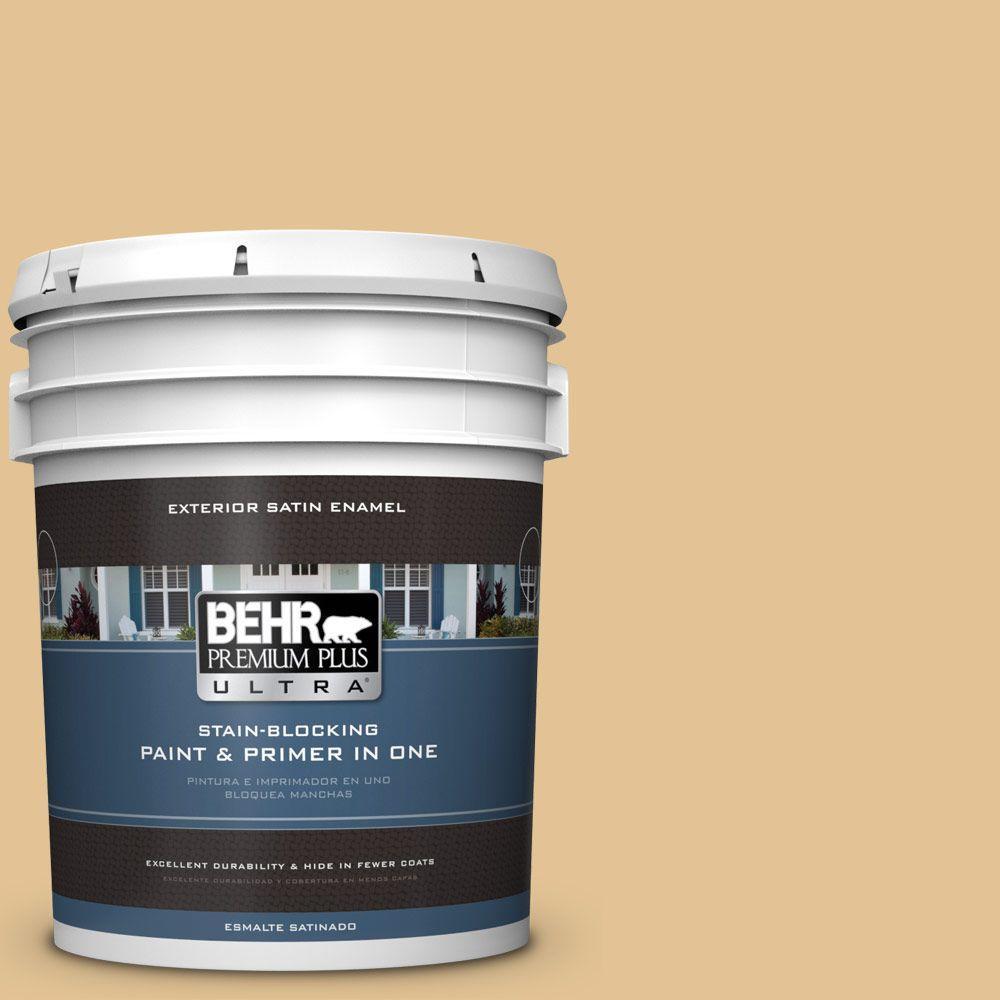 BEHR Premium Plus Ultra 5-gal. #310E-3 Ripe Wheat Satin Enamel Exterior Paint