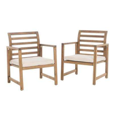 Cal Natural Stained 2-Piece Acacia Wood Club Chair Patio Deep Seating Set with Cream Cushions