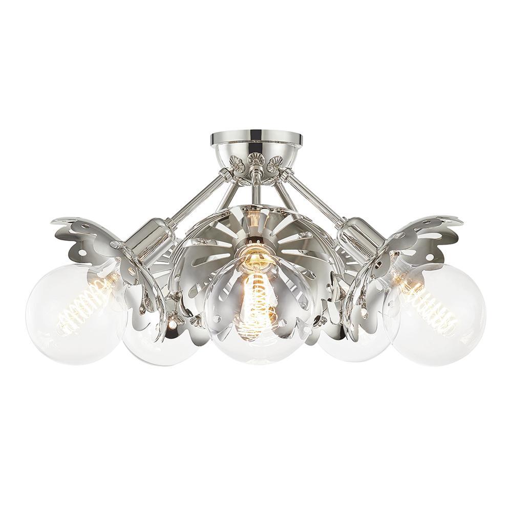 Mitzi By Hudson Valley Lighting Alyssa 10 5 In Light Polished Nickel Semi Flush Mount