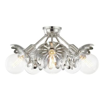 Alyssa 10.5 in. 5-Light Polished Nickel Semi-Flush Mount