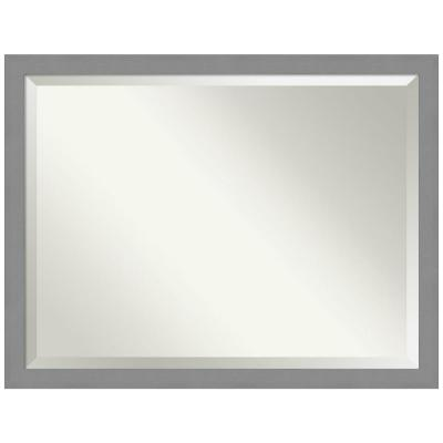 Medium Rectangle Brushed Silver Metallic Beveled Glass Modern Mirror (33.5 in. H x 43.5 in. W)