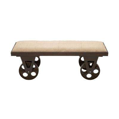 Beige and Brown Utility Cart Bench