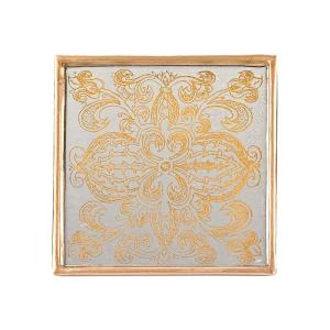 4 inch 4-Piece Square Manta Gold Coaster Set by