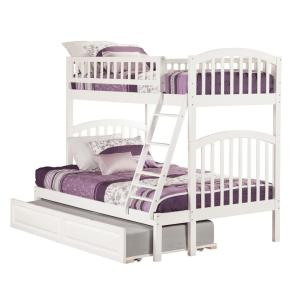 Richland Bunk Bed Twin over Full with Twin Size Raised Panel Trundle Bed in White