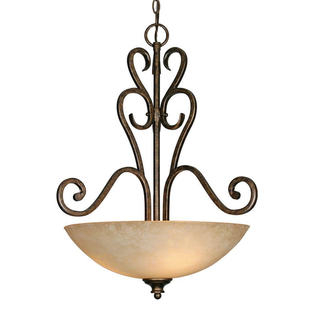 Dalian Collection 3-Light Burnt Sienna Pendant