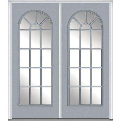 64 in. x 80 in. Classic Right-Hand Inswing Full Lite Clear Glass Painted Steel Prehung Front Door with Brickmould