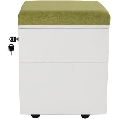 2-Drawer Wheeled White Storage Cabinet with Green Cushion