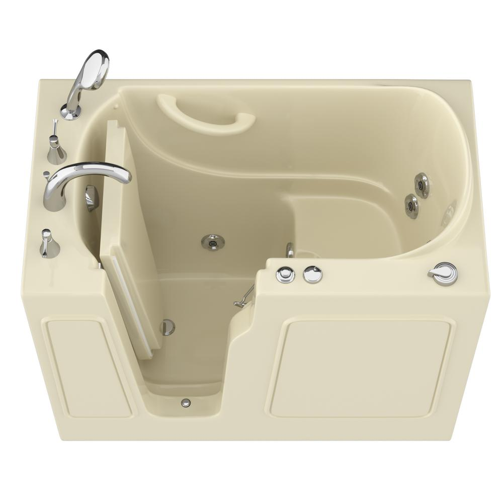Universal Tubs HD Series 46 in. Left Drain Quick Fill Walk-In Whirlpool Bath Tub with Powered Fast Drain in Biscuit