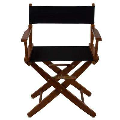 Extra-Wide 18 in. Mission Oak Frame/Black Canvas American Hardwood Directors Chair