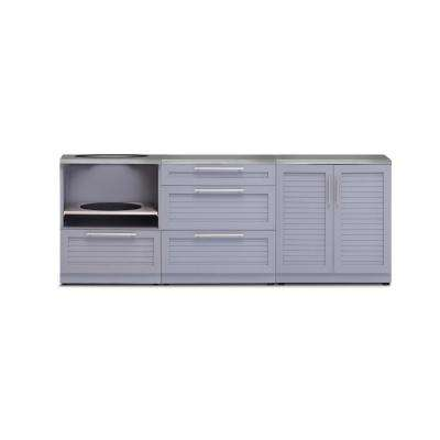 Coastal Gray 4-Piece 92 in. W x 36.5 in. H x 24 in. D Outdoor Kitchen Cabinet Set with Countertop