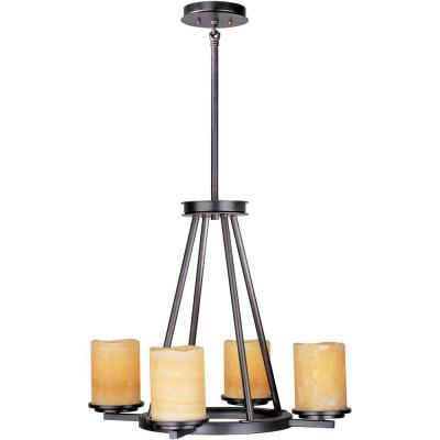 Luminous 4-Light Rustic Ebony Chandelier with Glass Shades