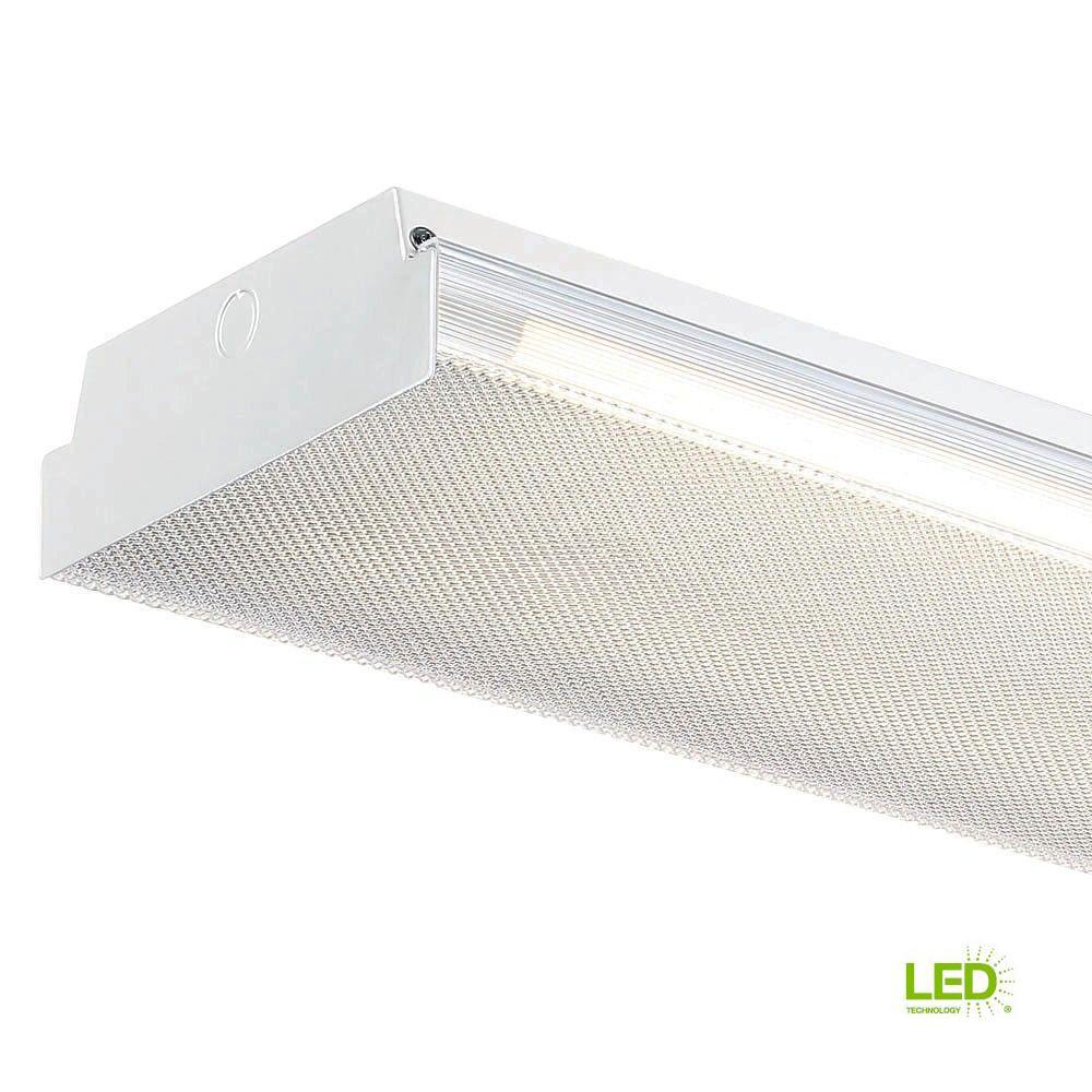 4 ft. x 9 in. 2-Light White LED Flushmount MV Wraparound Light with T8 LED 5000K Tubes