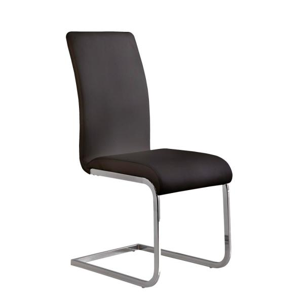 Amanda 38 in. Black Faux Leather and Chrome Finish Contemporary Side Chair (Set of 2)