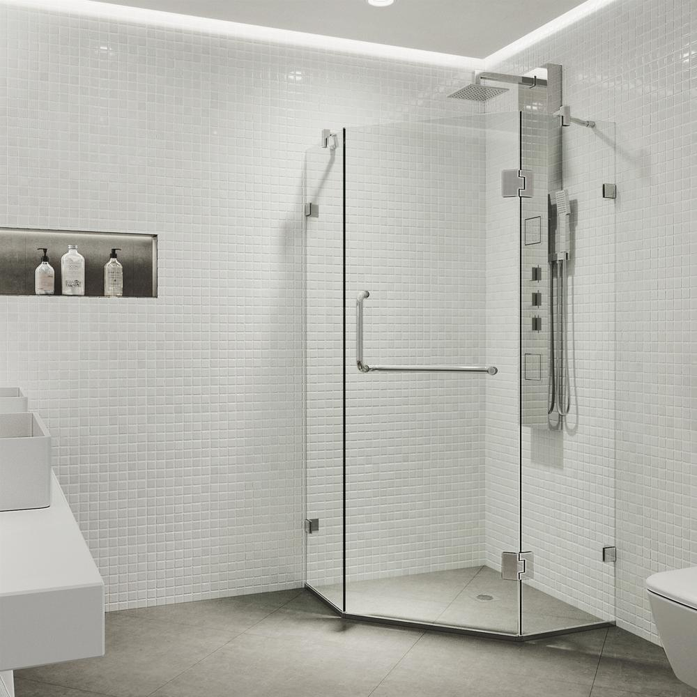 Piedmont 36.125 in. x 73.375 in. Frameless Neo-Angle Hinged Shower Enclosure