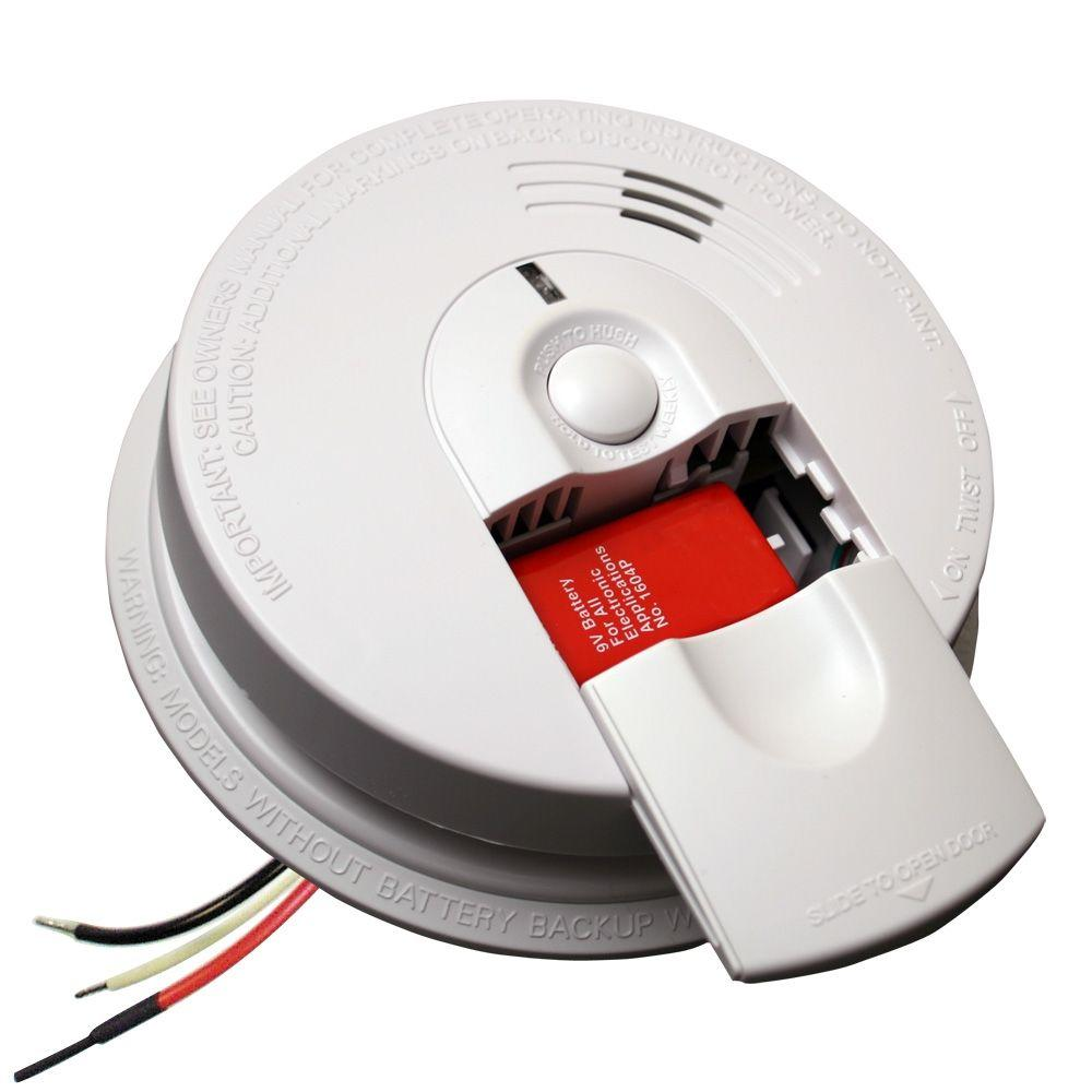 FireX Hardwire Smoke Detector with 9V Battery Backup and Front Load Battery  Door
