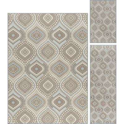 Majesty Taupe 5 ft. x 7 ft. 3-Piece Rug Set