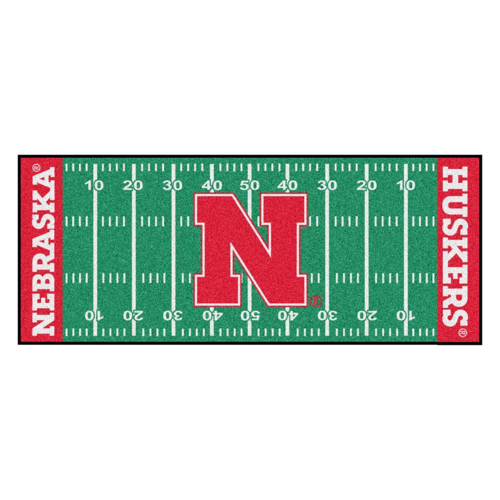 University of Nebraska 3 ft. x 6 ft. Football Field Rug Runner Rug