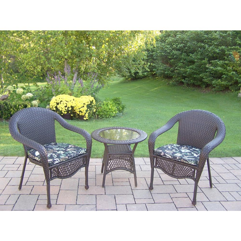 Elite 3-Piece Wicker Patio Seating Set with Black Floral Cushions