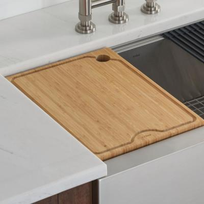 12 in. Solid Bamboo Workstation Kitchen Sink Cutting Board