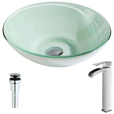 Sonata Series Deco-Glass Vessel Sink in Lustrous Light Green with Key Faucet in Brushed Nickel