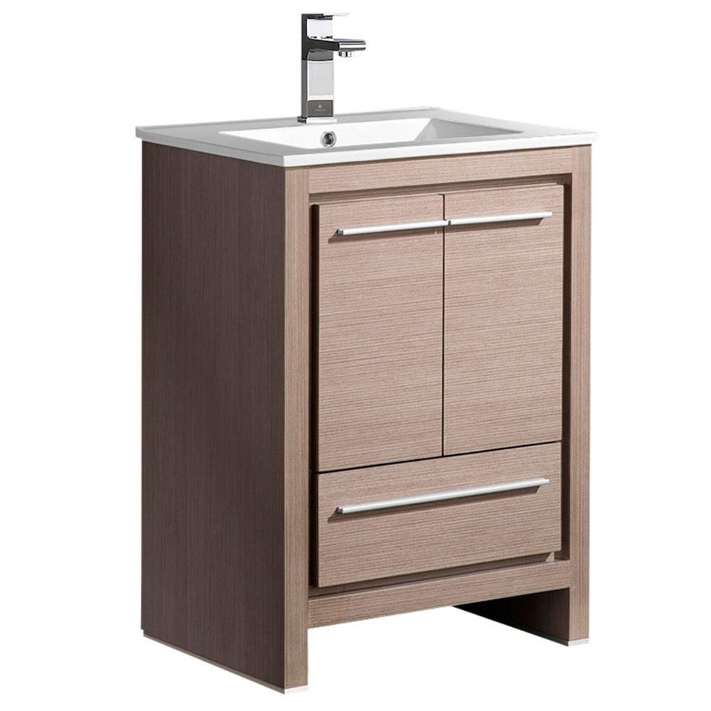 Fresca allier 24 in bath vanity in gray oak with ceramic for Local bathroom vanities
