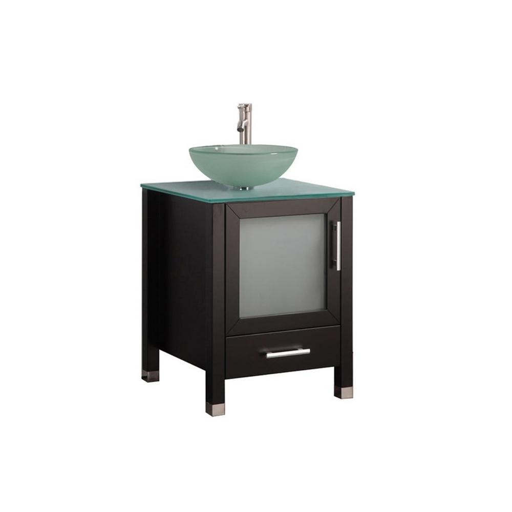MTD Vanities Caen 24 in. W x 20 in. D x 36 in. H Bath Vanity in Espresso with Aqua Tempered Glass Vanity Top with Frosted Glass Basin