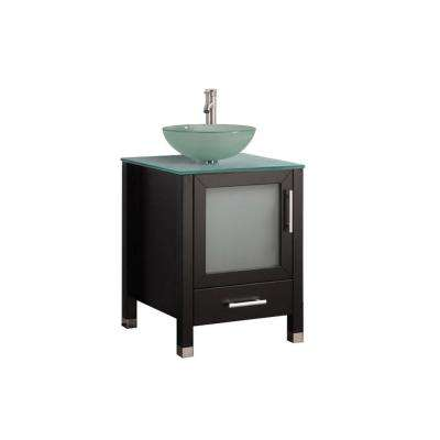 Caen 24 in. W x 20 in. D x 36 in. H Bath Vanity in Espresso with Aqua Tempered Glass Vanity Top with Frosted Glass Basin