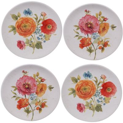 Country Fresh 4-Piece Country/Cottage Multi-Colored Ceramic 9 in. Salad Plate Set (Service for 4)