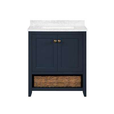 Granary 30 in. Bath Vanity in Midnight Blue with Cultured Marble Vanity Top in White with White Basin