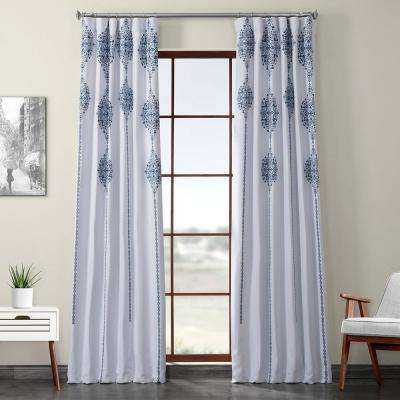 Karachi Navy Blue Printed Linen Textured Blackout Curtain - 50 in. W x 120 in. L (1-Panel)