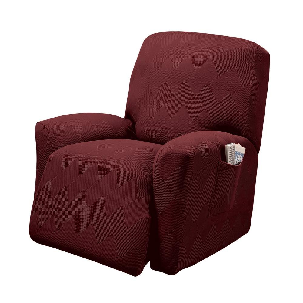 Burgundy Optic Recliner Stretch Slipcover