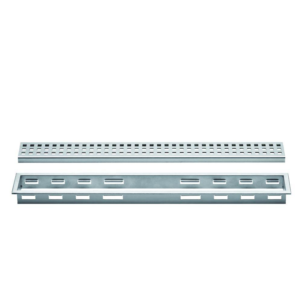 Kerdi-Line Brushed Stainless Steel 24 in. Metal Perforated Drain Grate Assembly
