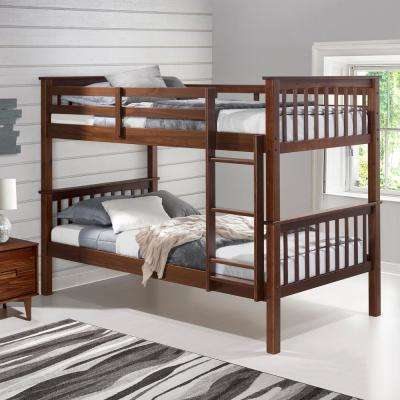 Transitional Cottage Classic Mission Solid Pine Twin Over Twin Bunk Bed – Walnut