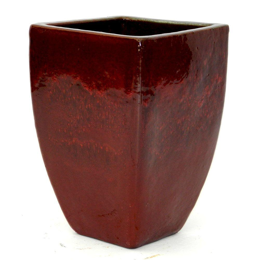 The Plant Stand of Arizona 29 in  Square Glazed Ceramic Pot