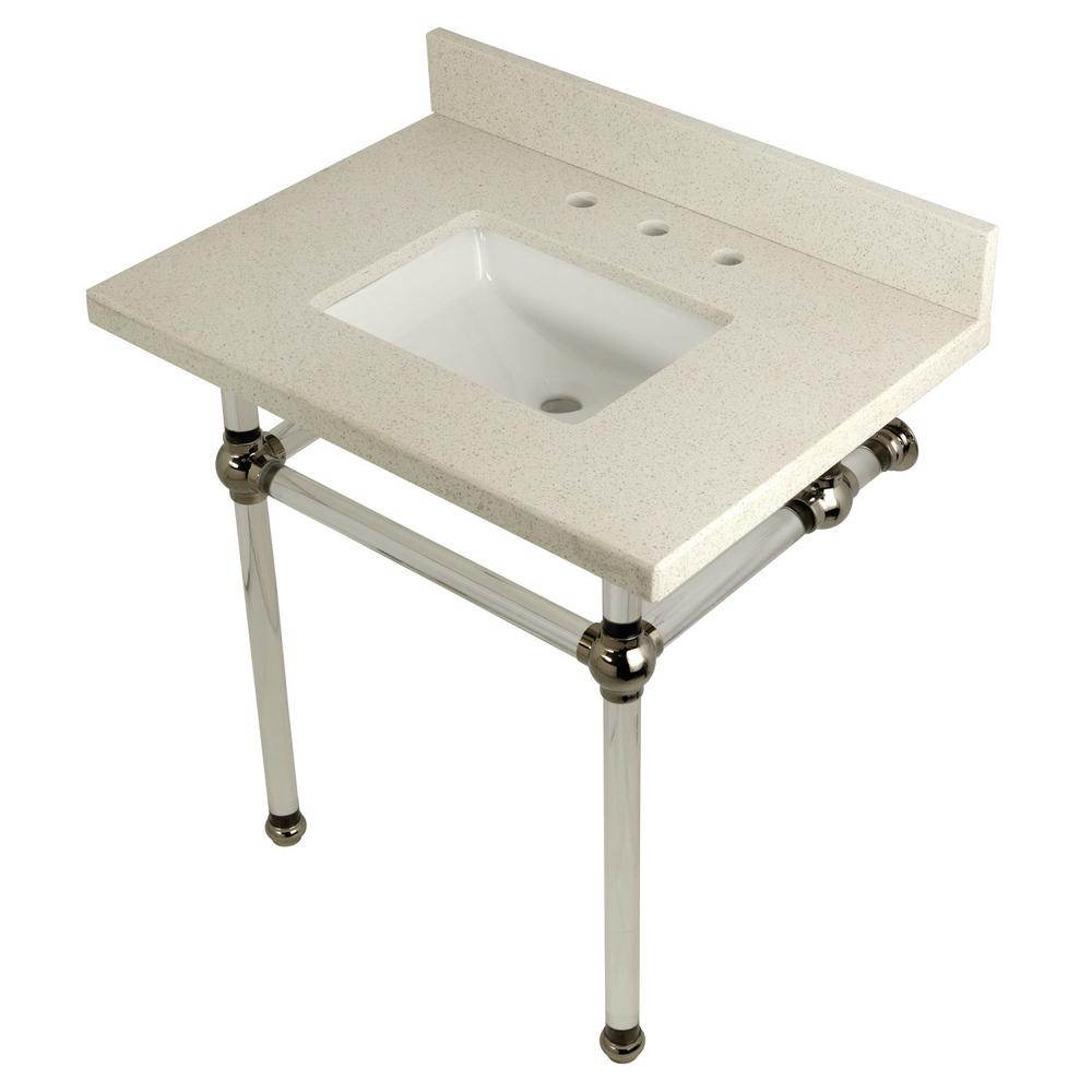 Square-Sink Washstand 30 in. Console Table in White Quartz with Acrylic