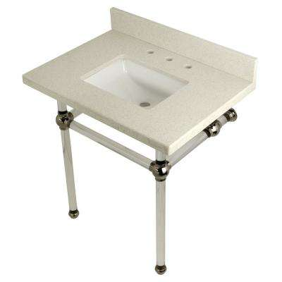 Square-Sink Washstand 30 in. Console Table in White Quartz with Acrylic Legs in Polished Nickel