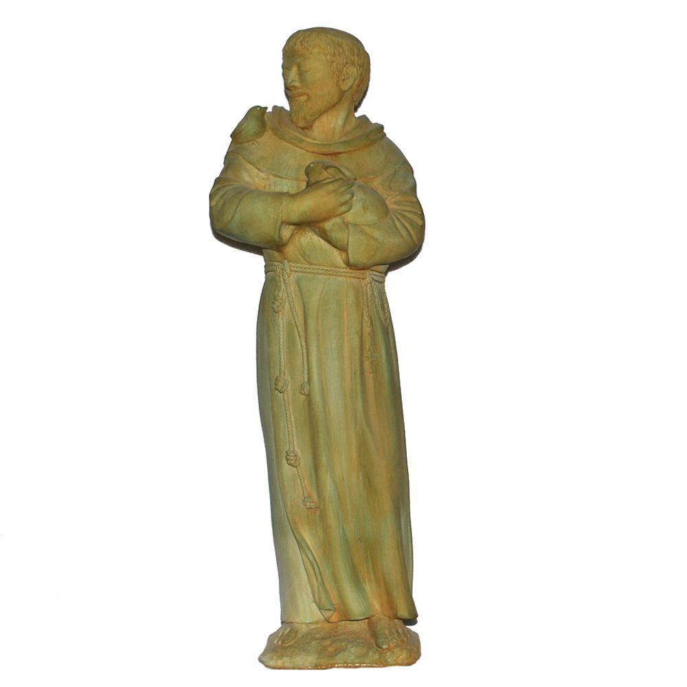 Cast Stone St. Francis Garden Statue Weathered Bronze