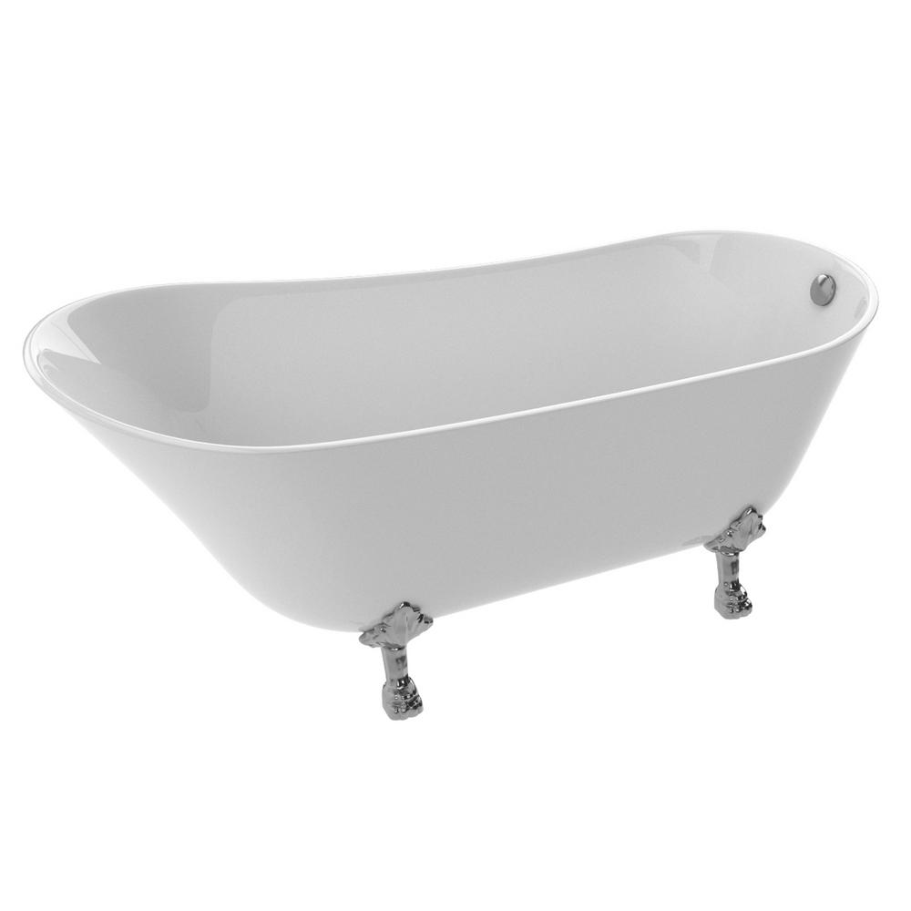 Legion Series 5.5 ft. Acrylic Clawfoot Non-Whirlpool Bathtub in White